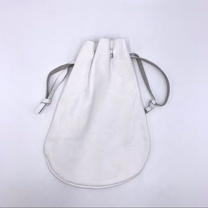 White Leather Handmade Pouch